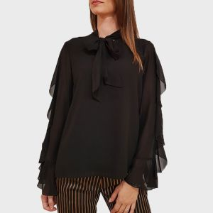 BLUSA MAN. ROUCHES POLY